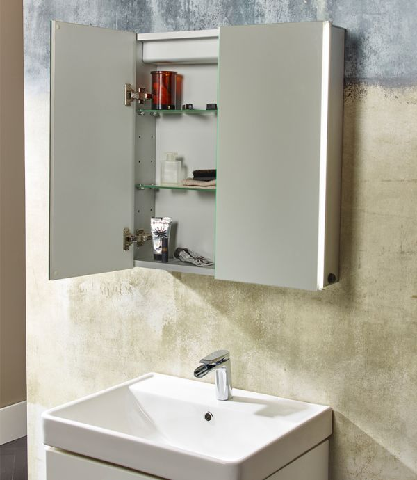 Sleek Double Door Mirror Cabinet