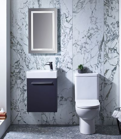 Kobe 450mm Wall Mounted Unit with Basin - Storm Grey