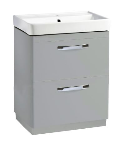 Compass 600mm double drawer freestanding unit gloss light grey