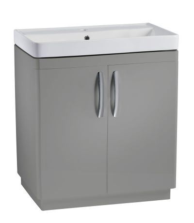 Compass 800mm freestanding unit gloss light grey