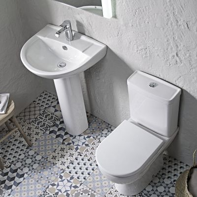 Micra 565mm Ceramic Basin & Pedestal 2 Tap Holes