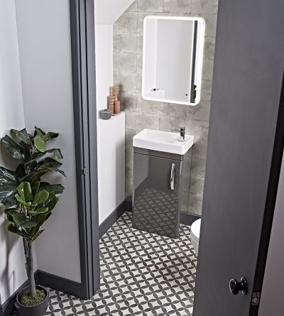 Compass 450mm Cloakroom Unit and Basin- Gloss Light Grey
