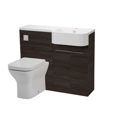 Match 1000mm Unit & Basin - Left - Tundra Wood