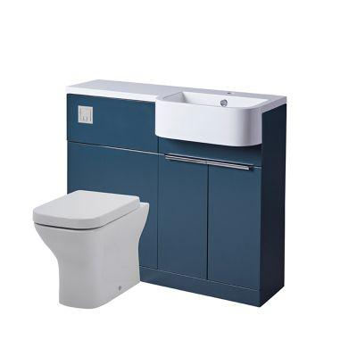 Match 1000mm Unit & Basin - Right - Oxford Blue