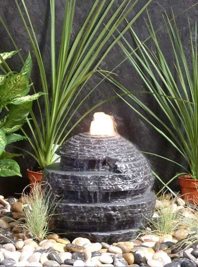 Rustic Black Sphere Fountain