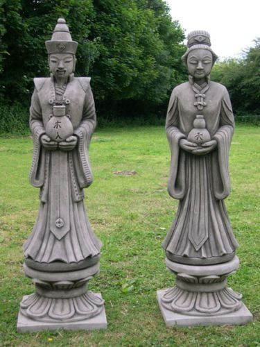 Large Oriental Statues on Plinth
