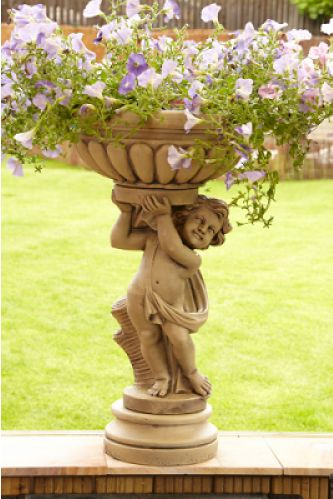 Large Stone Cherub Planter - Left