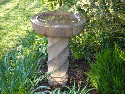 Spiral Sandstone Bird Bath