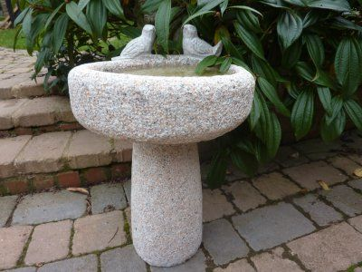 Pink Rustic Bird Bath