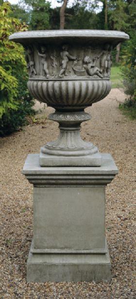 Bacchus Urn on Plinth