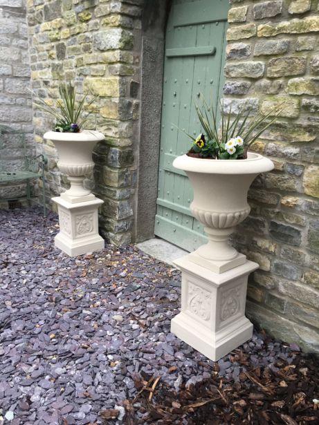 Templeton Urns on French Pedestals