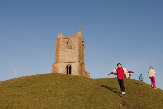 Children playing at Burrow Mump, near Burrowbridge