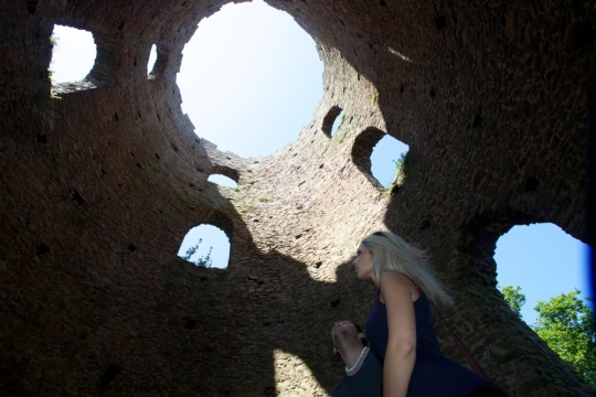 Couple inside looking up in Conygar Tower by James Walker for Visit Exmoor and Visit Somerset