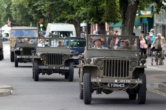 WW2 vehicles travelling to Exmoor Big Adventure Day on North Hill, Minehead